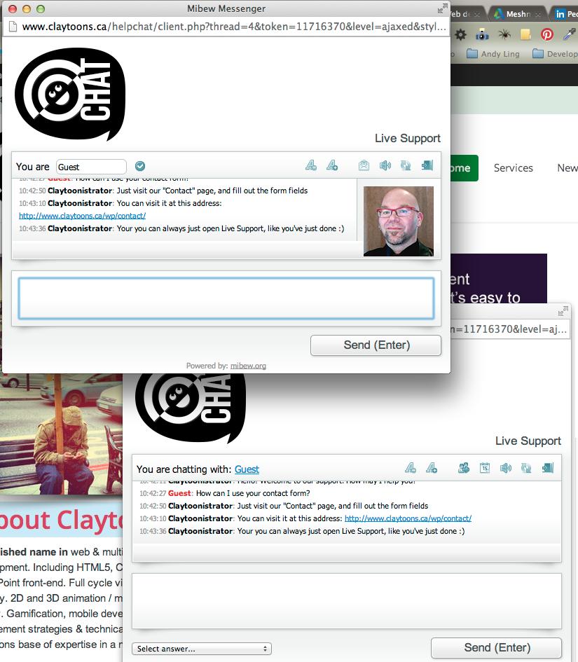 Screenshot of Mibew chat windows